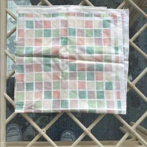 Echo silk scarf pastel green orange squares